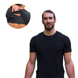 wearing posture corrector t-shirt